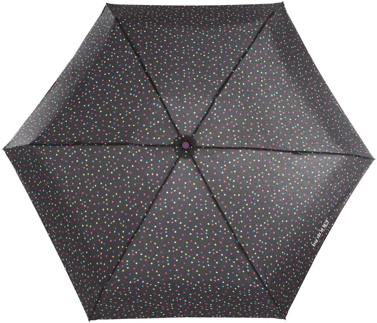 Зонт женский Isotoner Созвездие, механический, 5 сложений, цвет: черный, мультицвет. 09137-485009137-4850_горохКомпактный механический зонт Isotoner Созвездие с технологией Slim оформлен стильным орнаментом. Зонт оснащен надежным металлическим каркасом с шестью стальными спицами и куполом из прочного полиэстера. Эргономичная рукоятка из пластика дополнена эластичной петлей. К зонту прилагается чехол. Такой зонт легко поместится в женскую сумочку и даже в ненастную погоду позволит вам оставаться стильной и элегантной.