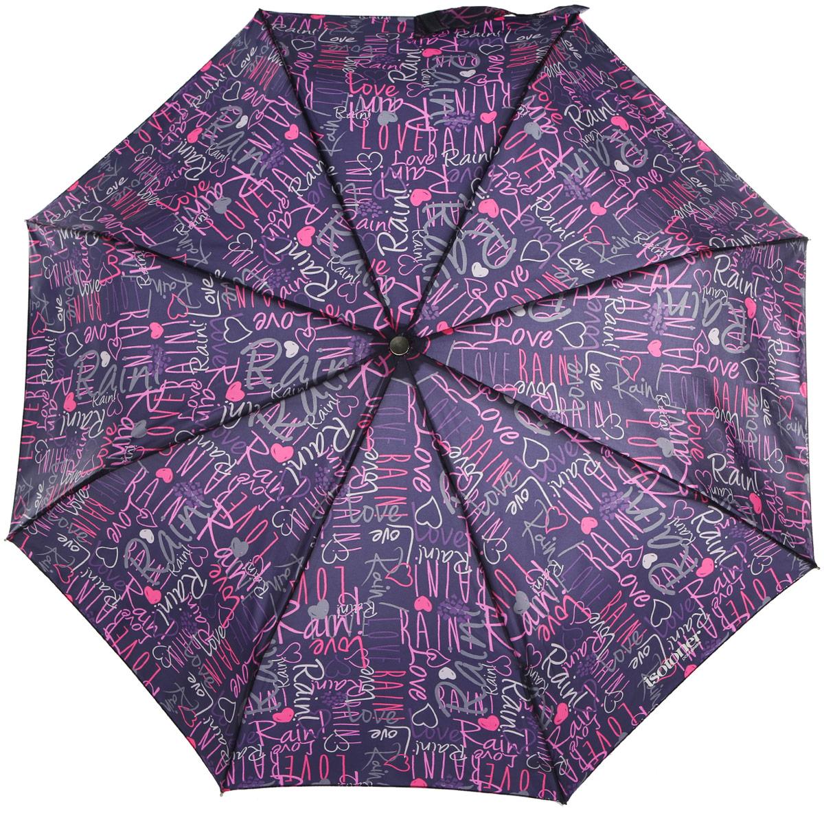 """Зонт женский Isotoner """"Graffitti"""", автомат, 3 сложения, цвет: фиолетовый. 09406"""