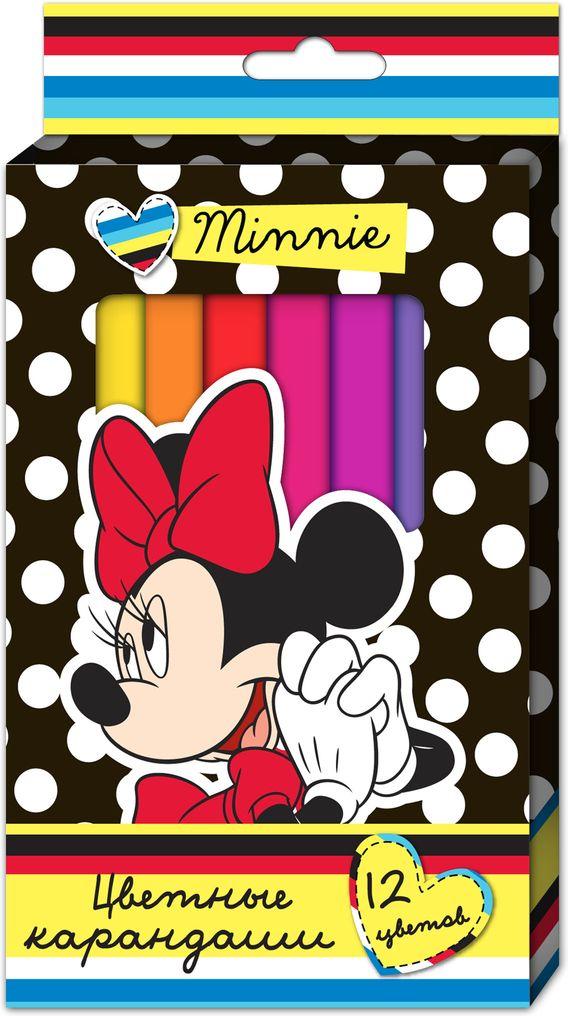 Disney Набор карандашей Минни толстые трехгранные 12 цветов