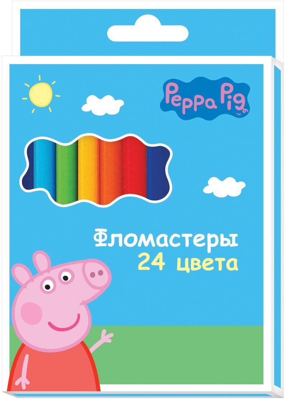 Peppa Pig Набор фломастеров Свинка Пеппа 24 цвета29005Набор фломастеров Peppa Pig Свинка Пеппа поможет вашему ребенку создать неповторимые яркие картинки, а упаковка с любимой героиней будет долгое время радовать малышку. Фломастеры снабжены вентилируемыми колпачками, безопасными для детей. Изготовлены из материала, обеспечивающего прочность корпуса и препятствующего испарению чернил, благодаря этому фломастеры имеют гарантированно долгий срок службы.