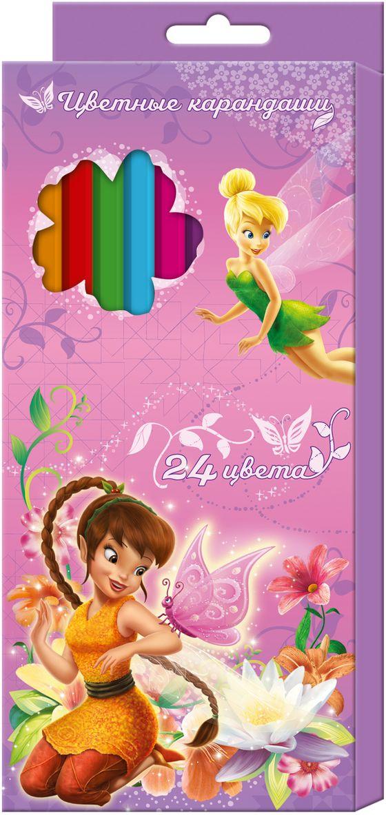Disney Набор цветных карандашей Феи 24 цвета29042Яркие карандаши Disney Феи помогут маленькой художнице создавать красивые картинки, а любимые герои вдохновят малышку на новые интересные идеи. В набор входит 24 цветных мягких и одновременно прочных карандаша, идеально подходящих для рисования, письма и раскрашивания. Яркие линии получаются без сильного нажима. Благодаря высококачественной древесине карандаши легко затачиваются. Прочный грифель не крошится при падении и не ломается при заточке.