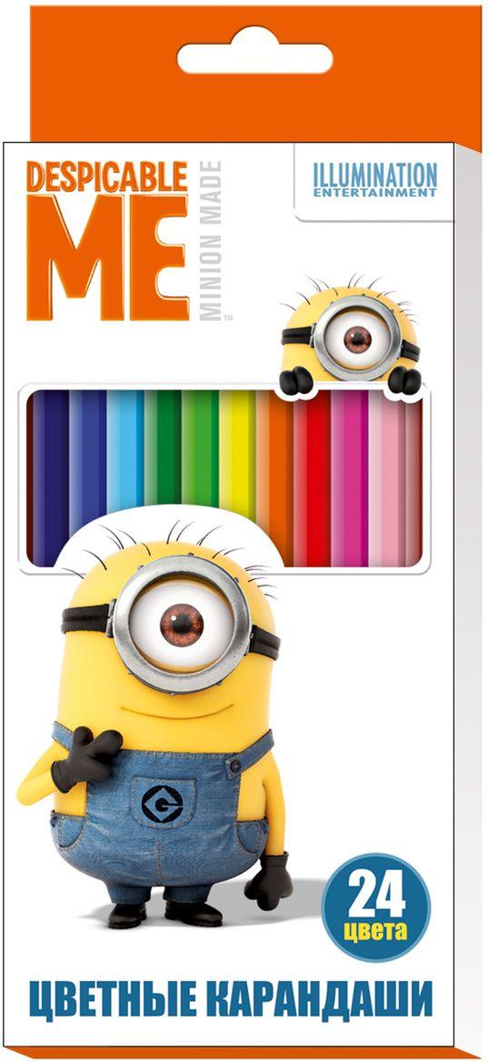Universal Миньоны Набор цветных карандашей Гадкий Я 24 цвета29047Набор цветных карандашей Universal Миньоны Гадкий Я помогут маленькому художнику создавать красивые картинки, а любимые герои вдохновят малыша на новые интересные идеи. В набор входят 24 цветных мягких и одновременно прочных карандаша, идеально подходящих для рисования, письма и раскрашивания. Яркие линии получаются без сильного нажима. Благодаря высококачественной древесине карандаши легко затачиваются. Прочный грифель не крошится при падении и не ломается при заточке. Состав: древесина, цветной грифель. С таким замечательным набором ваш ребенок будет всегда в хорошем настроении.
