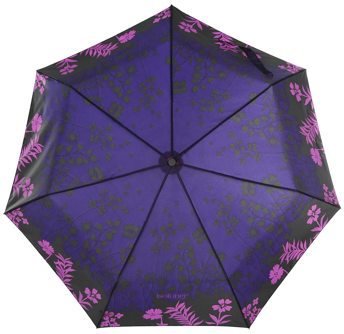 Зонт женский Isotoner Ombre Florale, автомат, 3 сложения, цвет: черный, фиолетовый. 0935809358-2336_цветыСтильный зонт Isotoner Ombre Florale оформлен ярким цветочным принтом. Каркас зонта выполнен из семи стальных спиц и оснащен удобной рукояткой из пластика. Зонт имеет автоматический механизм сложения: купол открывается и закрывается нажатием кнопки на рукоятке, стержень складывается вручную до характерного щелчка, благодаря чему открыть и закрыть зонт можно одной рукой, что чрезвычайно удобно при входе в транспорт или помещение. Купол зонта выполнен из прочного полиэстера. К зонту прилагается чехол. Стильный зонт даже в ненастную погоду позволит вам оставаться стильной и элегантной.