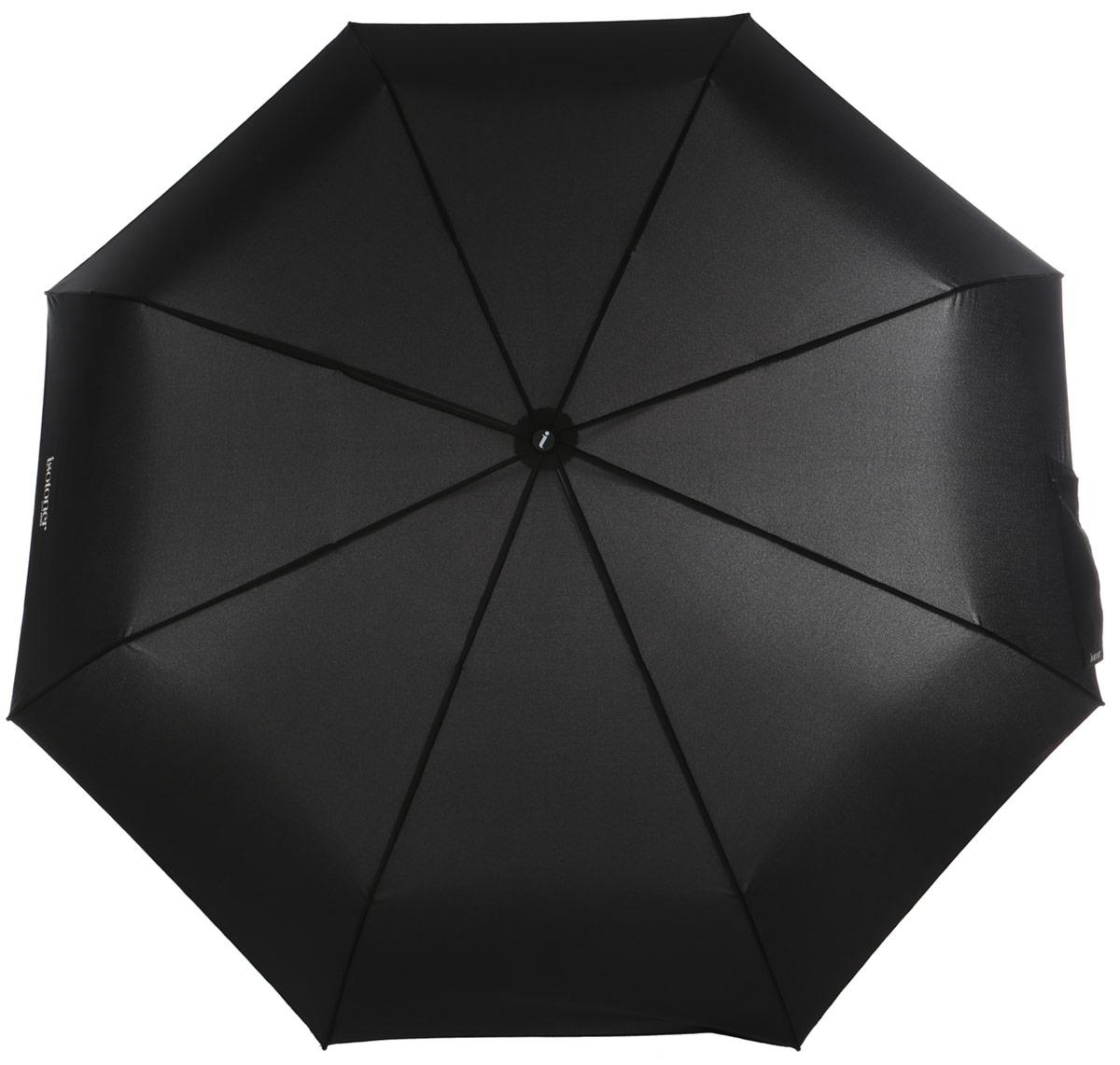 Зонт мужской Isotoner, автомат, 3 сложения, цвет: черный. 09456-308609456-3086_Классический автоматический зонт Isotoner с технологией X-tra Solide оформлен логотипом бренда. Зонт оснащен надежным металлическим каркасом с восьмью спицами из алюминия и стекловолокна. Купол изготовлен из прочного полиэстера. Зонт имеет автоматический механизм сложения: купол открывается и закрывается нажатием кнопки на рукоятке, стержень складывается вручную до характерного щелчка, благодаря чему открыть зонт можно одной рукой, что чрезвычайно удобно при выходе из транспорта или помещения. Эргономичная рукоятка дополнена эластичной петлей. К зонту прилагается чехол. Такой зонт не только надежно защитит вас от дождя, но и станет стильным аксессуаром, который идеально подчеркнет ваш образ.