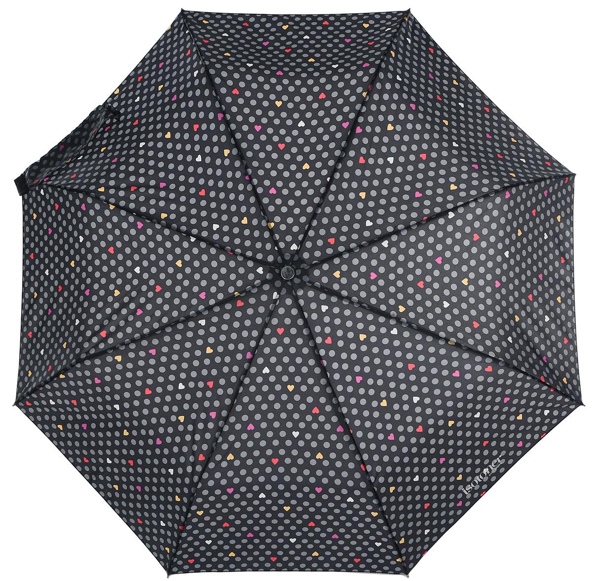 Зонт женский Isotoner, автомат, 3 сложения, цвет: черный. 09406-2959