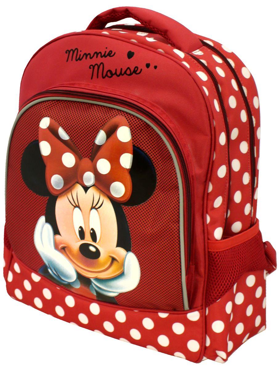 Disney Рюкзак детский Minnie Mouse25585Детский рюкзак Disney Minnie Mouse имеет легкий вес, поэтому ребенку будет с ним очень удобно. Рюкзак содержит два основных отделения на застежках- молниях с двумя бегунками. Внутри одного отделения расположены две мягкие перегородки на резинке, внутри другого - открытый карман-сетка. Дно рюкзака можно сделать жестким, разложив специальную панель с пластиковой вставкой, что повышает сохранность содержимого рюкзака и способствует правильному распределению нагрузки. На лицевой стороне расположен накладной карман на молнии, который декорирован изображением Минни Маус. Внутри кармана находится органайзер для канцелярских принадлежностей и кармашек для мобильного телефона. Рюкзак оснащен двумя боковыми открытыми карманами. Изделие имеет текстильную ручку для переноски в руке. Мягкие широкие лямки можно регулировать по длине. Многофункциональный детский рюкзак станет незаменимым спутником вашего ребенка в походах за знаниями. Рекомендуемый...