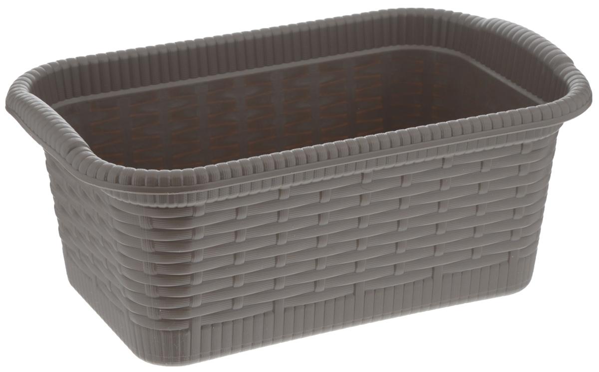 Корзина Gensini Rattan, цвет: темно-бежевый, 3 л3322Корзина Gensini Rattan, изготовленная из прочного пластика, предназначена для хранения мелочей в ванной, на кухне, даче или гараже. Легкая корзина со сплошным дном позволяет хранить мелкие вещи, исключая возможность их потери.
