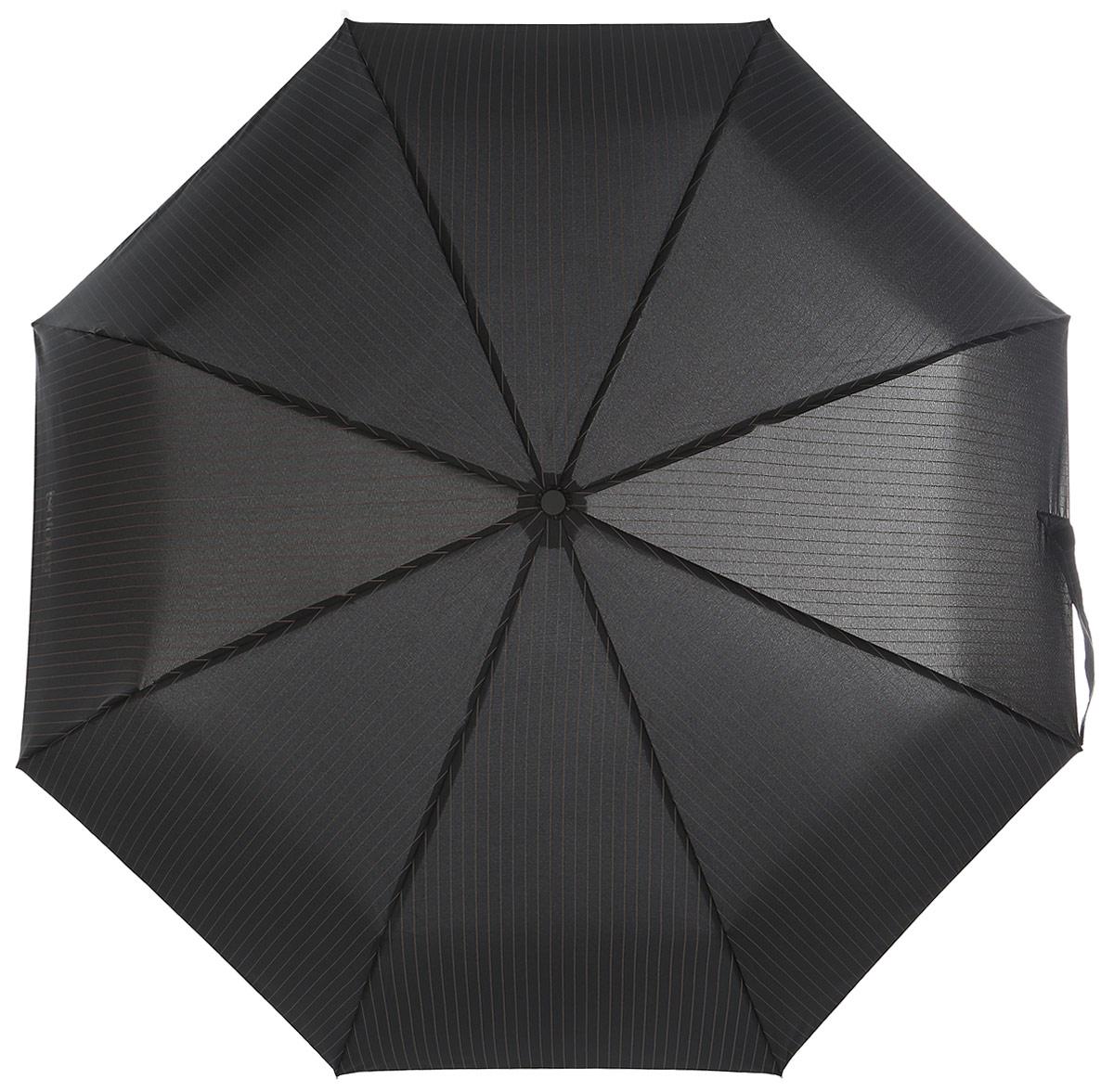 Зонт мужской Isotoner, автомат, 3 сложения, цвет: черный, коричневый. 09407-109407-1_полосаСтильный автоматический зонт Isotoner с технологией X-tra Solide оформлен полосатым принтом. Зонт оснащен надежным металлическим каркасом с восьмью спицами из алюминия и стекловолокна. Купол изготовлен из прочного полиэстера. Зонт имеет автоматический механизм сложения: купол открывается и закрывается нажатием кнопки на рукоятке, стержень складывается вручную до характерного щелчка, благодаря чему открыть зонт можно одной рукой, что чрезвычайно удобно при выходе из транспорта или помещения. Эргономичная рукоятка изготовлена из пластика. К зонту прилагается чехол. Такой зонт не только надежно защитит вас от дождя, но и станет стильным аксессуаром, который идеально подчеркнет ваш образ.