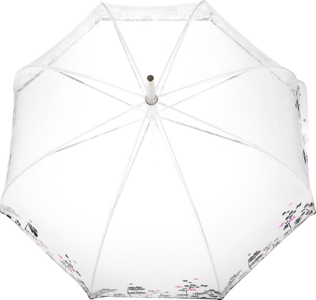 Зонт-трость женский Isotoner, механический, цвет: прозрачный, черный. 09357-335709357-3357_цветыМеханический зонт-трость Isotoner оформлен оригинальным принтом с изображением цветов. Он оснащен надежным металлическим каркасом с восьмью спицами из алюминия. Купол изготовлен из ПВХ. Модель застегивается с помощью хлястика на кнопку. Эргономичная рукоятка выполнена из пластика. Такой зонт не только надежно защитит вас от дождя, но и станет стильным аксессуаром, который идеально подчеркнет ваш образ.