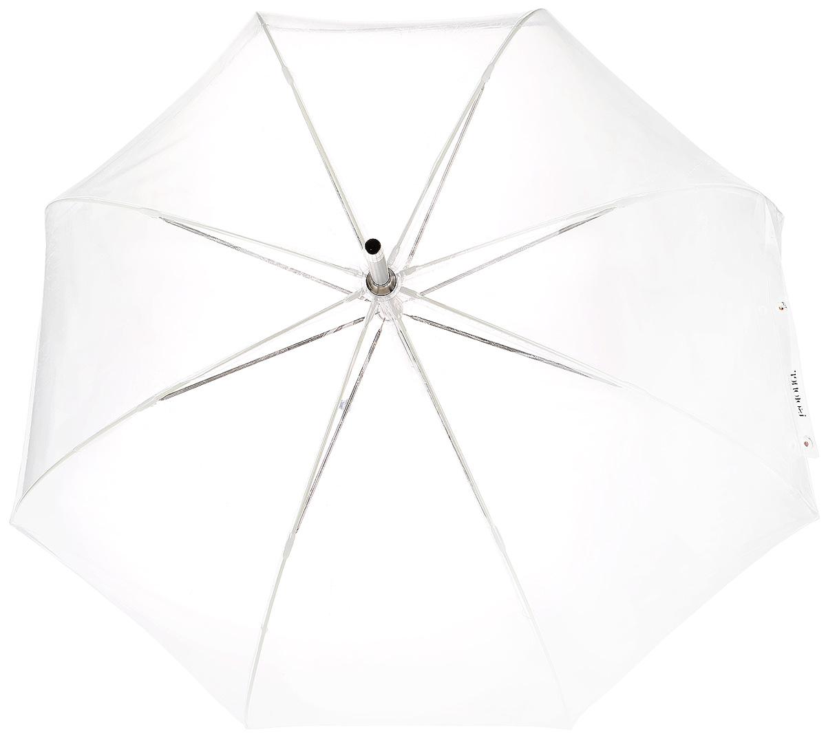 Зонт-трость женский Isotoner, механический, цвет: прозрачный. 09357-981809357-9818_Механический зонт-трость Isotoner оформлен изображением логотипа производителя. Он оснащен надежным металлическим каркасом с восьмью спицами из алюминия. Купол изготовлен из ПВХ. Модель застегивается с помощью хлястика на кнопку. Эргономичная рукоятка выполнена из пластика. Такой зонт не только надежно защитит вас от дождя, но и станет стильным аксессуаром, который идеально подчеркнет ваш образ.