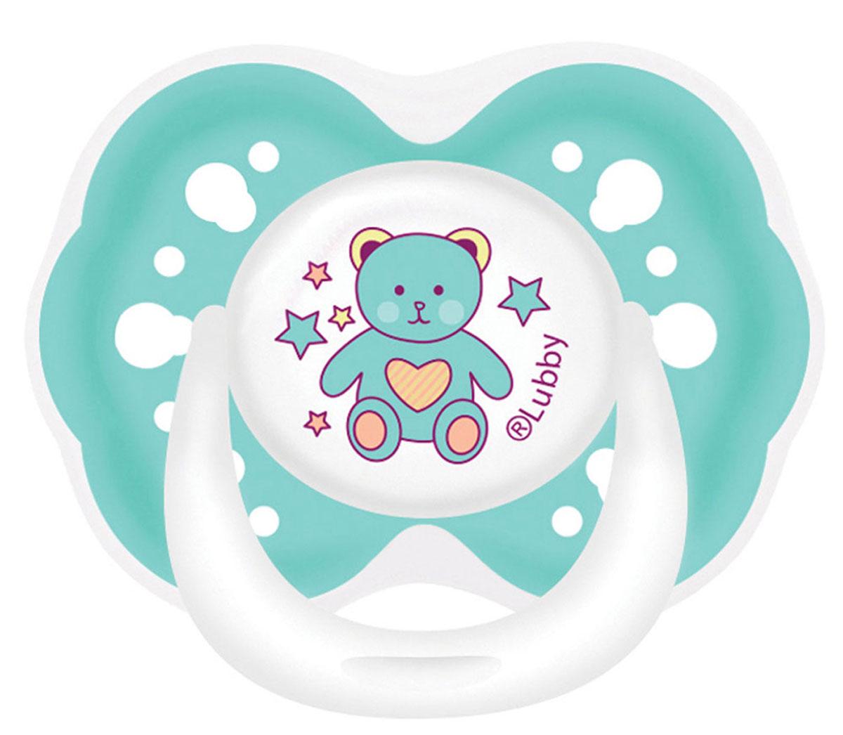 Lubby Пустышка силиконовая Малыши и малышки от 0 месяцев цвет бирюзовый