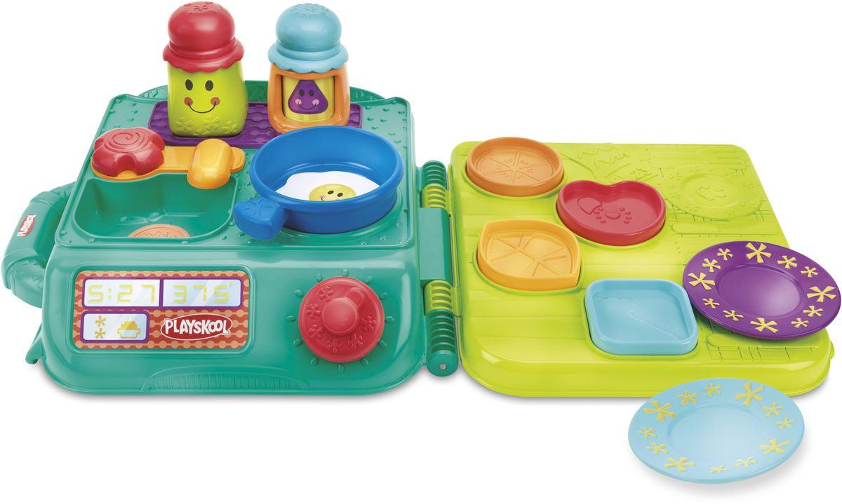 Playskool Развивающая игрушка Моя первая кухняB5848EU4Игрушка Playskool Моя первая кухня - это замечательная развивающая игрушка для малышей. Благодаря большому количеству деталей и элементов игрушки, у ребенка появляется множество возможностей для различных игр. Яркий чемоданчик с удобной ручкой для транспортировки одновременно является игровой поверхностью, имитирующую обстановку настоящей кухни в миниатюре. Переверните раскрытый чемоданчик вверх дном и вы получите варочную поверхность, крохотную раковину для мытья посуды и обеденный стол с углублениями, который можно использовать как сортер. В набор входит комплект посуды различного предназначения, разных форм, цветов и размеров, солонка и перечница. Такой набор, несомненно, поспособствует раннему развитию крохи. А когда ваш малыш вдоволь наиграется, просто соберите игрушки в удобный чемоданчик, закройте его и уберите на полку - в собранном виде набор не занимает много места, его удобно брать с собой, например, в путешествие или в гости.