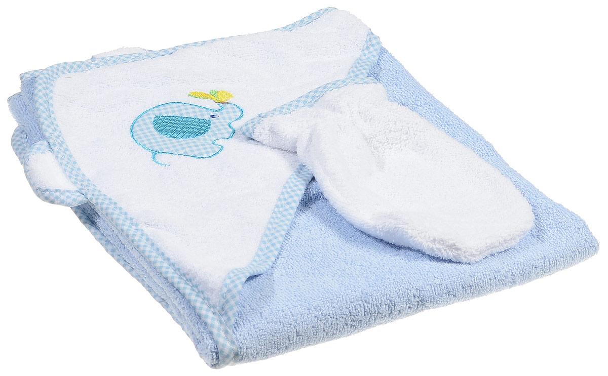Фея Комплект для купания Слоник цвет голубой 2 предмета1013_слонКомплект для купания Фея Слоник состоит из полотенца с капюшоном и рукавицы для мытья. Изделия изготовлены из нежной, хорошо впитывающей влагу, высококачественной махровой ткани (100 % хлопка), обладающей легким массирующим эффектом. Полотенце, декорированное изображением забавного слоника на капюшоне, позволяет полностью завернуть малыша и защитить его от простуды, а при помощи рукавички вы сможете деликатно помыть ребенка, не поцарапав его. Такой комплект идеально подходит для ухода за ребенком после купания. Уход: стирка при максимальной температуре 40 °С, гладить при температуре до 150 °С, не отбеливать, химчистка запрещена.
