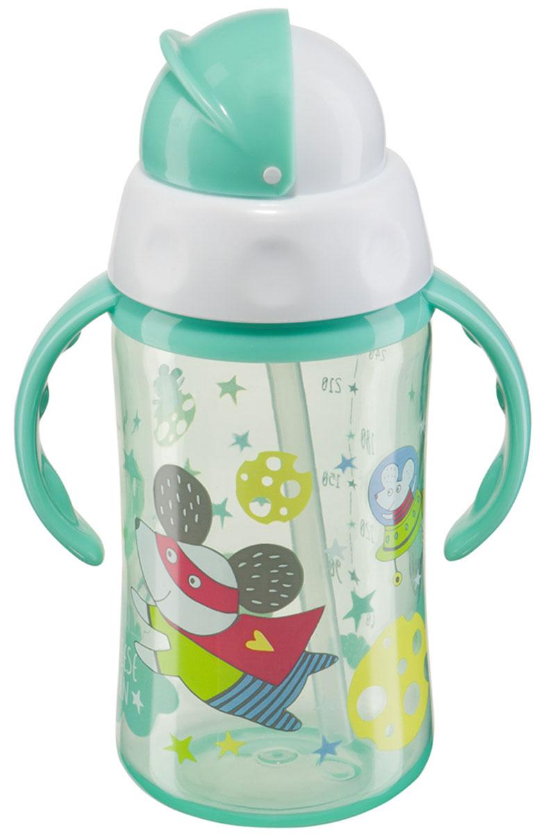 Happy Baby Бутылочка-поильник Cheese Fan с трубочкой от 12 месяцев цвет бирюзовый 240 мл 14004_бирюзовый мышка