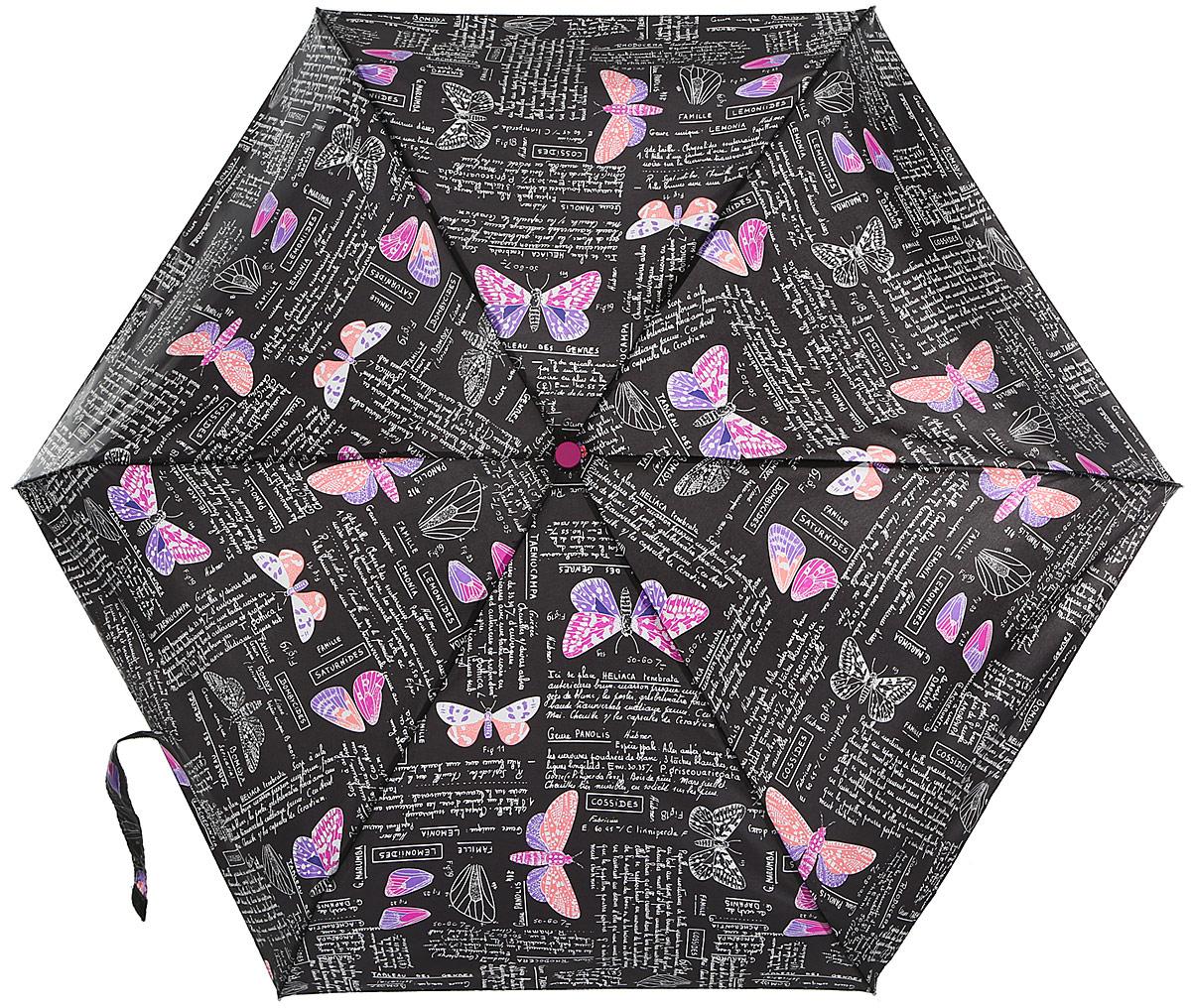 Зонт женский Isotoner Ботаника, автомат, 4 сложения, цвет: черный, сиреневый. 09145-307409145-3074_бабочкиКомпактный автоматический зонт Isotoner Ботаника с технологией Slim оформлен стильным принтом с изображением бабочек. Зонт оснащен надежным металлическим каркасом с шестью стальными спицами и куполом из прочного полиэстера. Зонт имеет автоматический механизм сложения: купол открывается и закрывается нажатием кнопки на рукоятке, стержень складывается вручную до характерного щелчка, благодаря чему открыть зонт можно одной рукой, что чрезвычайно удобно при выходе из транспорта или помещения. Эргономичная рукоятка из пластика дополнена эластичной петлей. К зонту прилагается чехол. Такой зонт легко поместится в женскую сумочку и даже в ненастную погоду позволит вам оставаться стильной и элегантной.