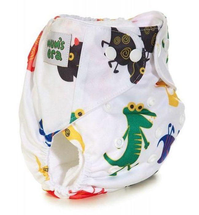 Mums Era Многоразовый подгузник Динозаврики с 2 вкладышами цвет белый35196