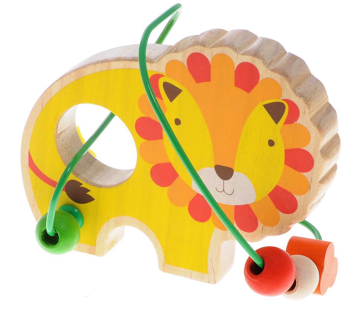 Lucy&Leo Лабиринт ЛевLL130Лабиринт Lucy&Leo Лев - это замечательная игрушка для малышей! Игрушка в виде льва выполнена из качественных материалов по европейским стандартам и покрыта специальной краской на водной основе, которая абсолютно безопасна для вашего малыша. Краска устойчива к воздействию влаги и нетоксична, рисунок на изделии долгое время будет сохранять яркость. Натуральное дерево, из которого изготовлена игрушка, прошло специальную обработку, в результате чего на модели не осталось острых углов или шероховатых поверхностей, которые могут повредить кожу ребенка. К игрушке прикреплена изогнутая проволока, по которой свободно могут двигаться фигурки, различные по цвету и форме. Мелкие детали не снимаются. Лабиринт способствует развитию моторики, тренирует мышцы кисти, отрабатывает круговые движения, стимулирует визуальное восприятие, когнитивное мышление, развивает интеллектуальные способности. Отлично подойдет для первых знакомств с цветом и формой.