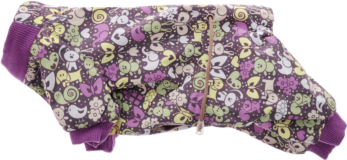 Комбинезон для собак Yoriki Звери, для мальчика, цвет: фиолетовый. Размер S168-11Комбинезон для собак Yoriki Звери отлично подойдет для прогулок в прохладную погоду осенью или весной. Верх комбинезона выполнен из водоотталкивающего полиэстера. Подкладка изготовлена из мягкой вискозы. Низ рукавов и брючин оснащен широкими стильными манжетами. Застегивается комбинезон на спинке на кнопки и дополнительно на пояснице затягивается шнурком. Благодаря такому комбинезону вашему питомцу будет комфортно наслаждаться прогулкой. Длина по спинке: 20 см. Обхват шеи: 24 см.