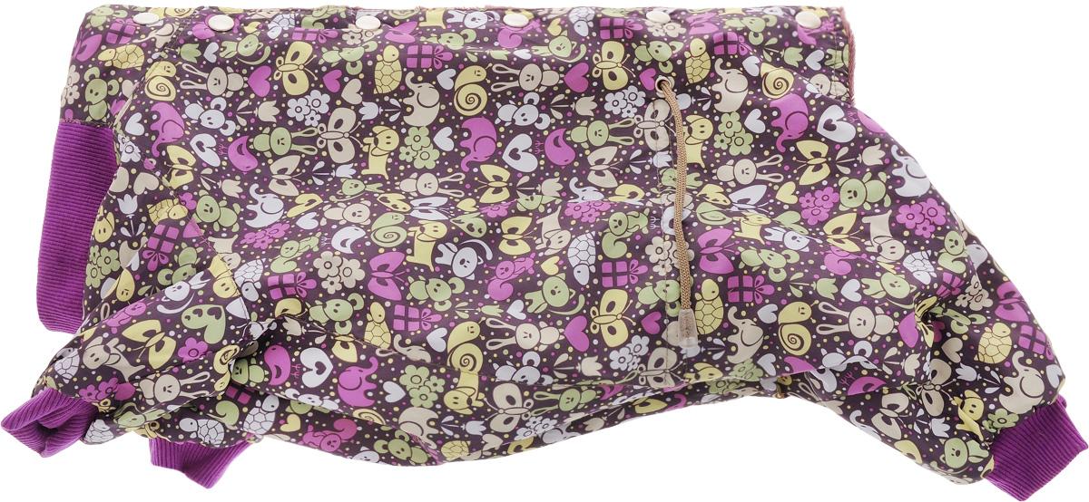 Комбинезон для собак Yoriki Звери, для мальчика, цвет: фиолетовый. Размер XL168-14Комбинезон для собак Yoriki Звери отлично подойдет для прогулок в прохладную погоду осенью или весной. Верх комбинезона выполнен из водоотталкивающего полиэстера. Подкладка изготовлена из мягкой вискозы. Низ рукавов и брючин оснащен широкими стильными манжетами. Застегивается комбинезон на спинке на кнопки и дополнительно на пояснице затягивается шнурком. Благодаря такому комбинезону вашему питомцу будет комфортно наслаждаться прогулкой. Длина по спинке: 32 см. Обхват шеи: 34 см.