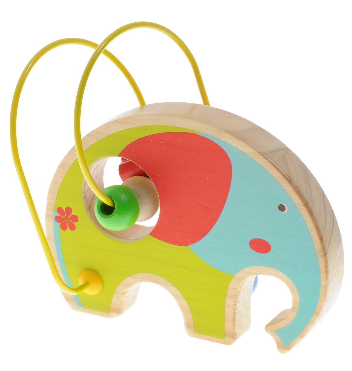 Lucy&Leo Лабиринт СлонLL131Лабиринт Lucy&Leo Слон - это замечательная игрушка для малышей! Игрушка в виде слона выполнена из качественных материалов по европейским стандартам и покрыта специальной краской на водной основе, которая абсолютно безопасна для вашего малыша. Краска устойчива к воздействию влаги и нетоксична, рисунок на изделии долгое время будет сохранять яркость. Натуральное дерево, из которого изготовлена игрушка, прошло специальную обработку, в результате чего на модели не осталось острых углов или шероховатых поверхностей, которые могут повредить кожу ребенка. К игрушке прикреплена изогнутая проволока, по которой свободно могут двигаться фигурки, различные по цвету и форме. Мелкие детали не снимаются. Лабиринт способствует развитию моторики, тренирует мышцы кисти, отрабатывает круговые движения, стимулирует визуальное восприятие, когнитивное мышление, развивает интеллектуальные способности. Отлично подойдет для первых знакомств с цветом и формой.