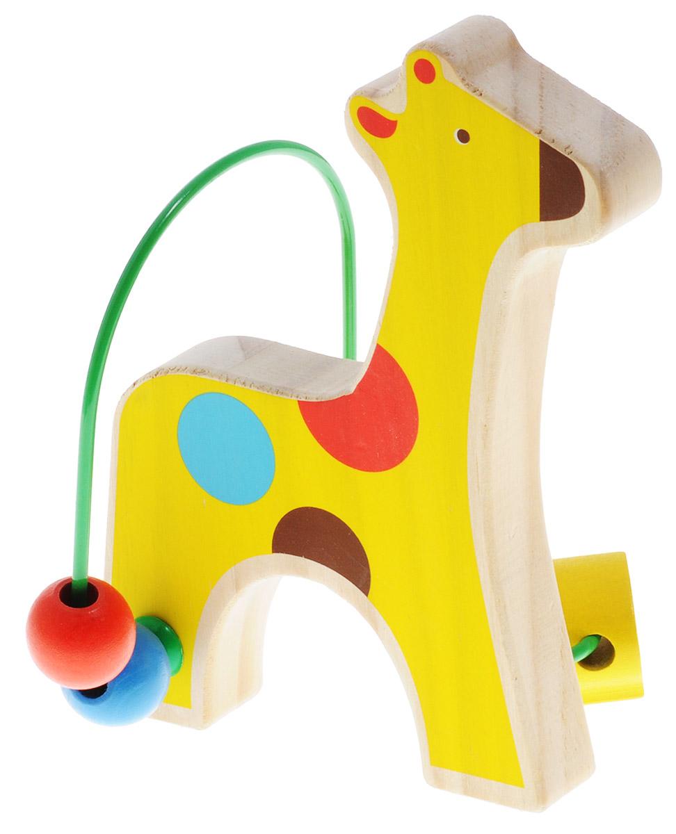 Lucy&Leo Лабиринт ЖирафLL128Лабиринт Lucy&Leo Жираф - это замечательная игрушка для малышей! Игрушка в виде жирафа выполнена из качественных материалов по европейским стандартам и покрыта специальной краской на водной основе, которая абсолютно безопасна для вашего малыша. Краска устойчива к воздействию влаги и нетоксична, рисунок на изделии долгое время будет сохранять яркость. Натуральное дерево, из которого изготовлена игрушка, прошло специальную обработку, в результате чего на модели не осталось острых углов или шероховатых поверхностей, которые могут повредить кожу ребенка. К игрушке прикреплена изогнутая проволока, по которой свободно могут двигаться фигурки, различные по цвету и форме. Мелкие детали не снимаются. Лабиринт способствует развитию моторики, тренирует мышцы кисти, отрабатывает круговые движения, стимулирует визуальное восприятие, когнитивное мышление, развивает интеллектуальные способности. Отлично подойдет для первых знакомств с цветом и формой.