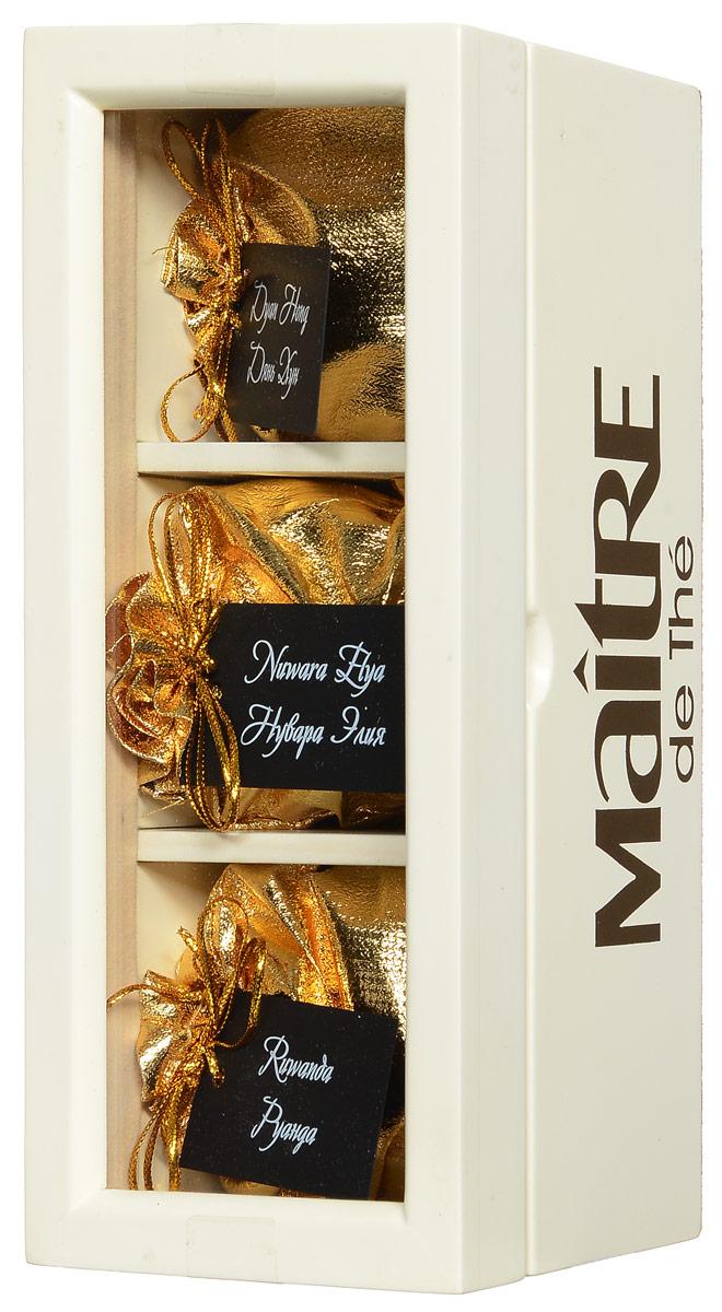 Maitre V.I.P. набор черного листового чая, 90 гбаж052Maitre V.I.P. - уникальный набор элитных черных листовых чаев из Китая, Цейлона и Африки в деревянной шкатулке с прозрачной крышкой. Каждый чай имеет индивидуальную упаковку. Набор включает: - черный африканский чай Руанда, - черный цейлонский чай Нувара Элия, - черный китайский чай Дянь Хун. Набор станет прекрасным подарком для ценителей чая!
