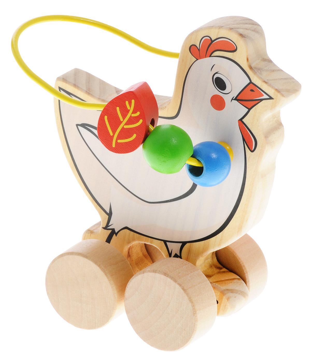 Мир деревянных игрушек Лабиринт-каталка КурицаД363Лабиринт-каталка Мир деревянных игрушек Курица - это замечательная игрушка для малышей! Игрушка в виде курицы на колесиках выполнена из качественных материалов по европейским стандартам и покрыта специальной краской на водной основе, которая абсолютно безопасна для вашего малыша. Натуральное дерево, из которого изготовлена игрушка, прошло специальную обработку, в результате чего на модели не осталось острых углов или шероховатых поверхностей, которые могут повредить кожу ребенка. Производитель использует только экологически чистую новозеландскую сосну для производства своих игрушек. К игрушке прикреплена изогнутая проволока, по которой свободно могут двигаться фигурки, различные по цвету и форме. Мелкие детали не снимаются. Благодаря большим деревянным колесам малыш сможет использовать игрушку и как каталку. Лабиринт-каталка развивает моторику рук, логическое мышление, а также знакомит малыша с основными цветами и формами.