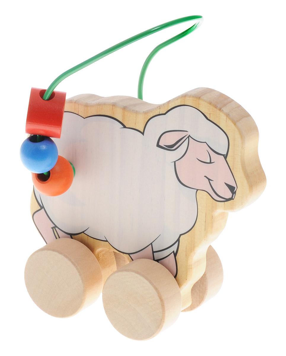 Мир деревянных игрушек Лабиринт-каталка ОвцаД366Лабиринт-каталка Мир деревянных игрушек Овца - это замечательная игрушка для малышей! Игрушка в виде овечки на колесиках выполнена из качественных материалов по европейским стандартам и покрыта специальной краской на водной основе, которая абсолютно безопасна для вашего малыша. Натуральное дерево, из которого изготовлена игрушка, прошло специальную обработку, в результате чего на модели не осталось острых углов или шероховатых поверхностей, которые могут повредить кожу ребенка. Производитель использует только экологически чистую новозеландскую сосну для производства своих игрушек. К игрушке прикреплена изогнутая проволока, по которой свободно могут двигаться фигурки, различные по цвету и форме. Мелкие детали не снимаются. Благодаря большим деревянным колесам малыш сможет использовать игрушку и как каталку. Лабиринт-каталка развивает моторику рук, логическое мышление, а также знакомит малыша с основными цветами и формами.