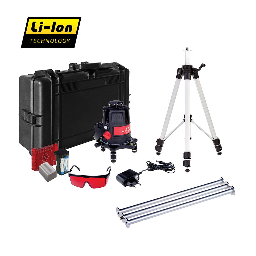 Построитель лазерных плоскостей ADA Ultraliner 360 4V Set А00477А00477Отличие комплектации Set: построитель, штатив, дополнительные секции к штативу (3шт/ длина 62 см), аккумулятор Li-ion, зарядное устройство, лазерные очки, магнитная мишень, батареи тип АА 1,5 V (4 шт.), держатель для батарей (адаптер), пластиковый кейс, инструкция