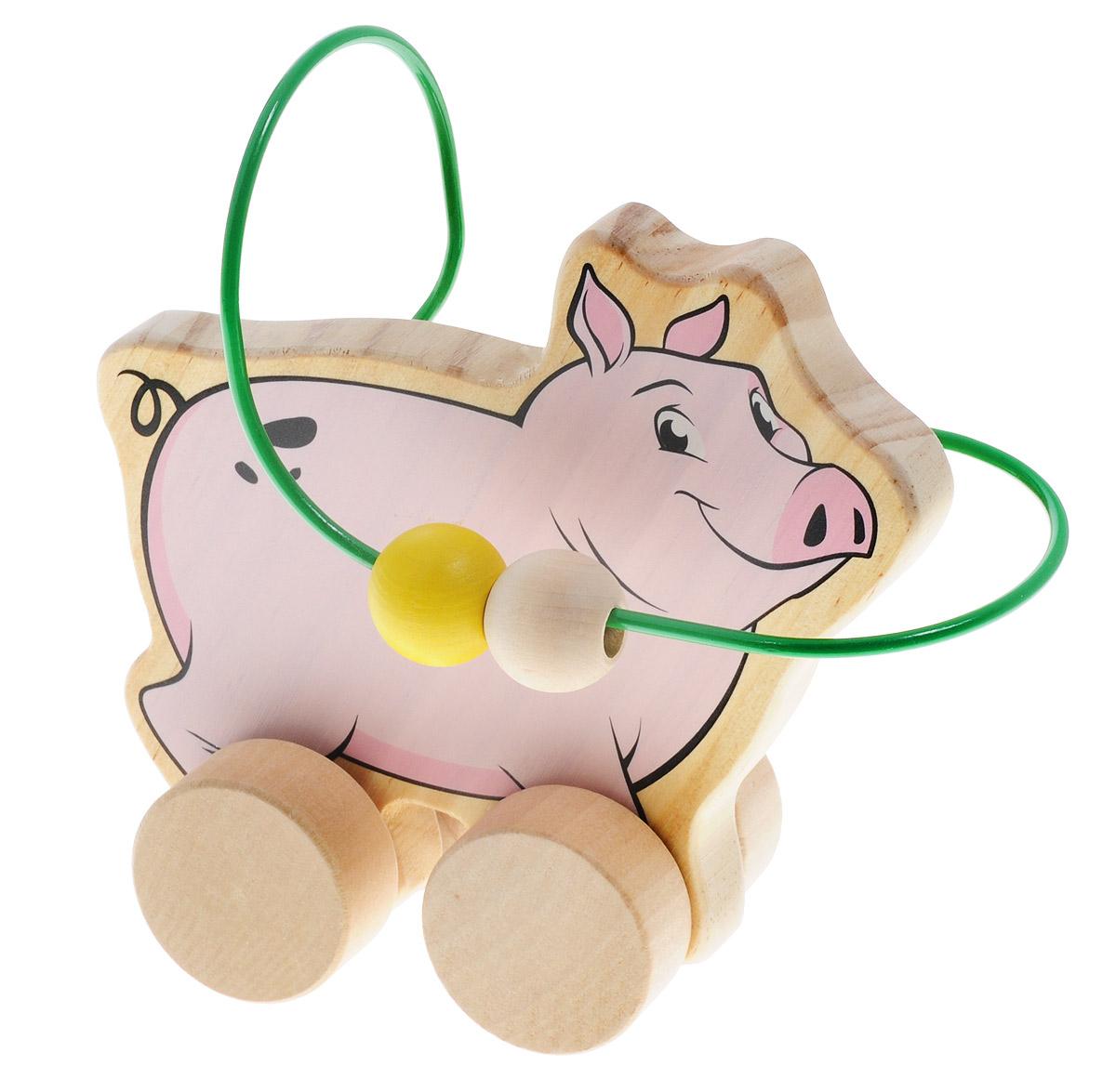Мир деревянных игрушек Лабиринт-каталка СвиньяД367Лабиринт-каталка Мир деревянных игрушек Свинья - это замечательная игрушка для малышей! Игрушка в виде свиньи на колесиках выполнена из качественных материалов по европейским стандартам и покрыта специальной краской на водной основе, которая абсолютно безопасна для вашего малыша. Натуральное дерево, из которого изготовлена игрушка, прошло специальную обработку, в результате чего на модели не осталось острых углов или шероховатых поверхностей, которые могут повредить кожу ребенка. Производитель использует только экологически чистую новозеландскую сосну для производства своих игрушек. К игрушке прикреплена изогнутая проволока, по которой свободно могут двигаться фигурки, различные по цвету и форме. Мелкие детали не снимаются. Благодаря большим деревянным колесам малыш сможет использовать игрушку и как каталку. Лабиринт-каталка развивает моторику рук, логическое мышление, а также знакомит малыша с основными цветами и формами.