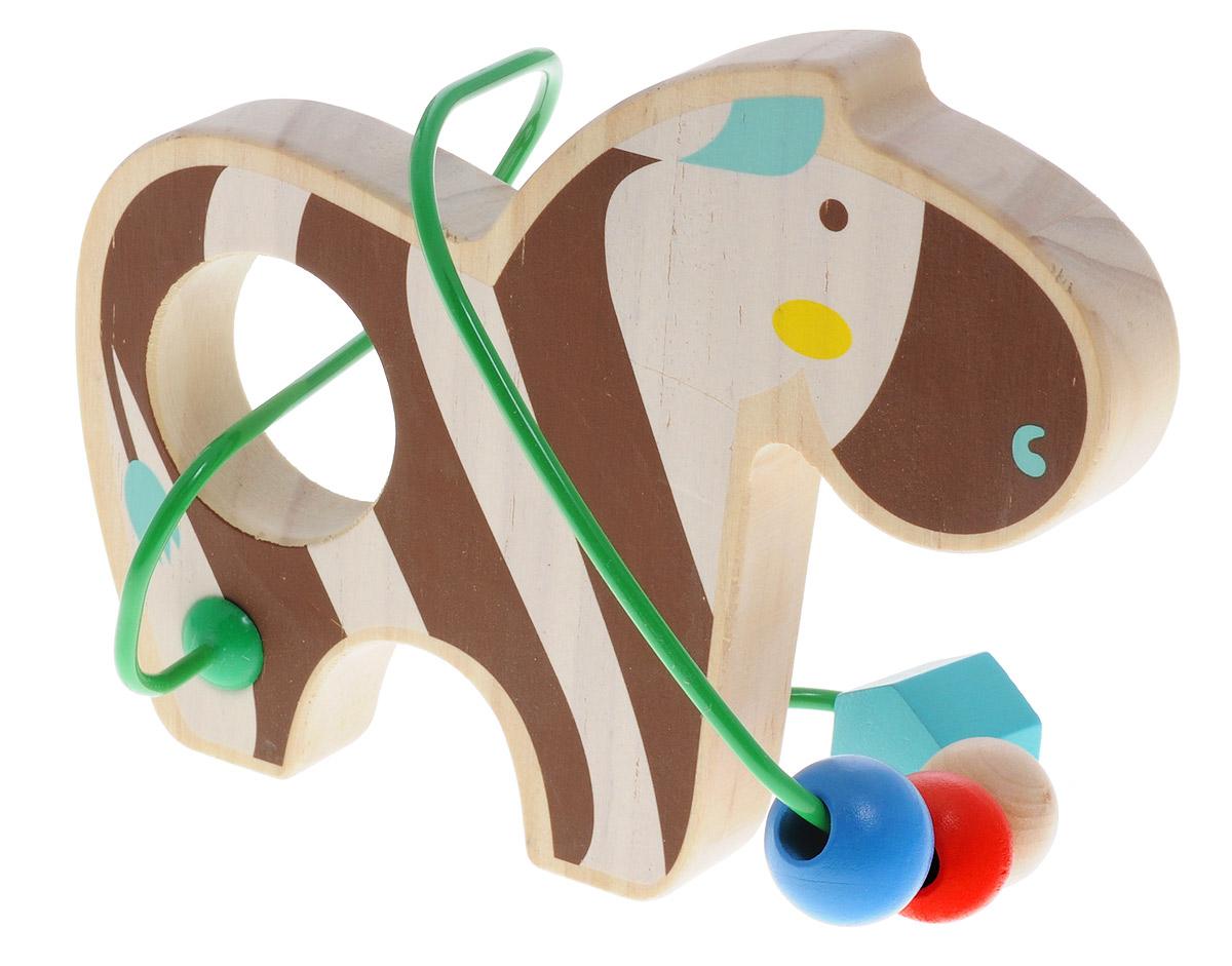 Lucy&Leo Лабиринт ЗебраLL127Лабиринт Lucy&Leo Зебра - это замечательная игрушка для малышей! Игрушка в виде зебры выполнена из качественных материалов по европейским стандартам и покрыта специальной краской на водной основе, которая абсолютно безопасна для вашего малыша. Краска устойчива к воздействию влаги и нетоксична, рисунок на изделии долгое время будет сохранять яркость. Натуральное дерево, из которого изготовлена игрушка, прошло специальную обработку, в результате чего на модели не осталось острых углов или шероховатых поверхностей, которые могут повредить кожу ребенка. К игрушке прикреплена изогнутая проволока, по которой свободно могут двигаться фигурки, различные по цвету и форме. Мелкие детали не снимаются. Лабиринт способствует развитию моторики, тренирует мышцы кисти, отрабатывает круговые движения, стимулирует визуальное восприятие, когнитивное мышление, развивает интеллектуальные способности. Отлично подойдет для первых знакомств с цветом и формой.