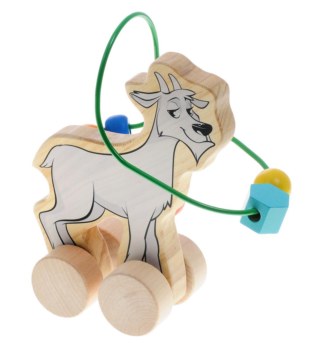 Мир деревянных игрушек Лабиринт-каталка КозелД360Лабиринт-каталка Мир деревянных игрушек Козел - это замечательная игрушка для малышей! Игрушка в виде козлика на колесиках выполнена из качественных материалов по европейским стандартам и покрыта специальной краской на водной основе, которая абсолютно безопасна для вашего малыша. Натуральное дерево, из которого изготовлена игрушка, прошло специальную обработку, в результате чего на модели не осталось острых углов или шероховатых поверхностей, которые могут повредить кожу ребенка. Производитель использует только экологически чистую новозеландскую сосну для производства своих игрушек. К игрушке прикреплена изогнутая проволока, по которой свободно могут двигаться фигурки, различные по цвету и форме. Мелкие детали не снимаются. Благодаря большим деревянным колесам малыш сможет использовать игрушку и как каталку. Лабиринт-каталка развивает моторику рук, логическое мышление, а также знакомит малыша с основными цветами и формами.
