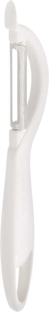 Овощечистка Tescoma Presto, с продольным лезвием, цвет: белый, длина 19 см420106Овощечистка с продольным лезвием Tescoma Presto изготовлена из прочного пластика, лезвие из высококачественной нержавеющей стали. Отлично подходит для быстрой и легкой очистки овощей. Также можно использовать для нарезки тонкими ломтиками моркови, сельдерея, редиса. Можно мыть в посудомоечной машине. Длина: 19 см.