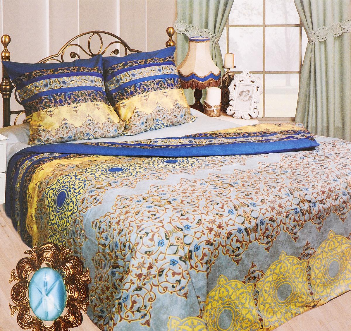 Комплект белья Sova & Javoronok Марракеш, евро, наволочки 70х70, цвет: голубой, синий, бежевый2030115098Комплект постельного белья Sova & Javoronok Марракеш является экологически безопасным для всей семьи, так как выполнен из бязи (100% натурального хлопка). Комплект состоит из пододеяльника, простыни и двух наволочек. Предметы комплекта оформлены изящным узором. Бязь - хлопчатобумажная ткань полотняного переплетения без искусственных добавок. Большое количество нитей делает эту ткань более плотной, более долговечной. Высокая плотность ткани позволяет сохранить форму изделия, его первоначальные размеры и первозданный рисунок. Легко стирается и хорошо гладится.