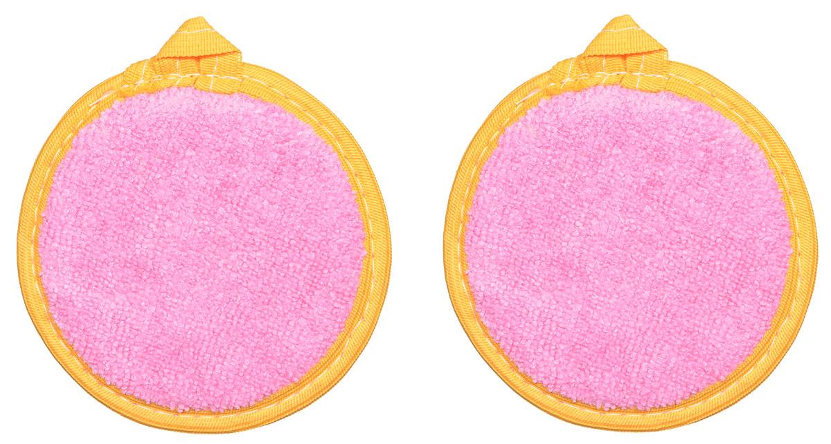 Набор натуральных мочалок для лица Текос, цвет: розовый, оранжевый, 2 шт4,2_розовый,оранжевый