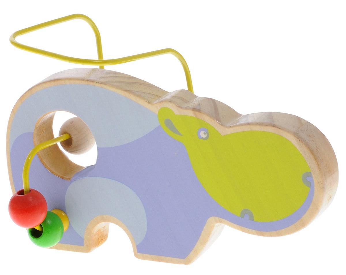 Lucy&Leo Лабиринт БегемотLL129Лабиринт Lucy&Leo Бегемот - это замечательная игрушка для малышей! Игрушка в виде бегемота выполнена из качественных материалов по европейским стандартам и покрыта специальной краской на водной основе, которая абсолютно безопасна для вашего малыша. Краска устойчива к воздействию влаги и нетоксична, рисунок на изделии долгое время будет сохранять яркость. Натуральное дерево, из которого изготовлена игрушка, прошло специальную обработку, в результате чего на модели не осталось острых углов или шероховатых поверхностей, которые могут повредить кожу ребенка. К игрушке прикреплена изогнутая проволока, по которой свободно могут двигаться фигурки, различные по цвету и форме. Мелкие детали не снимаются. Лабиринт способствует развитию моторики, тренирует мышцы кисти, отрабатывает круговые движения, стимулирует визуальное восприятие, когнитивное мышление, развивает интеллектуальные способности. Отлично подойдет для первых знакомств с цветом и формой.