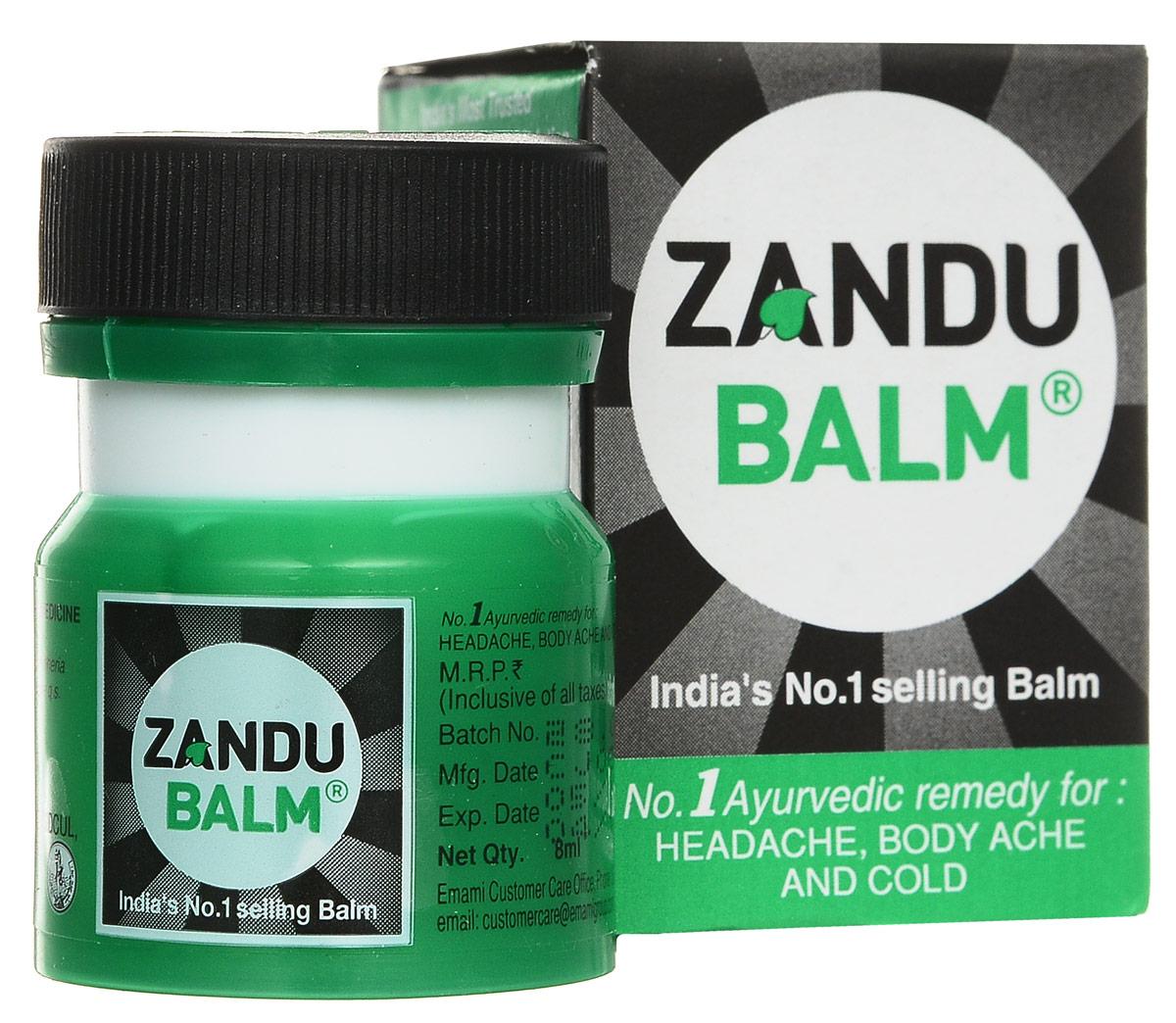 Zandu бальзам, 8 мл701105Почти мгновенно снимает головную боль, а также боли при растяжении, ушибе, ревматизме.