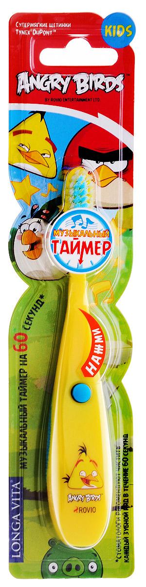Longa Vita Детская музыкальная зубная щетка Angry Birds от 3 лет цвет желтый129919_желтыйДетская музыкальная зубная щетка Longa Vita Angry Birds предназначена для детей от трех лет. Музыкальный таймер, который работает 60 секунд, помогает ребенку определить необходимое время для чистки зубов, формируя полезную привычку - заботиться о здоровье полости рта. Щетка имеет эргономичную ручку, небольшую чистящую головку, цветовое поле мягкой щетины для оптимального дозирования пасты. Для включения таймера нажмите кнопку, находящуюся на щетке. Отключение происходит автоматически, через 60 секунд. В щетке использованы незаменяемые батарейки. Работы батареек хватает для использования щетки в течение времени, рекомендованного стоматологами. Стоматологи рекомендуют менять зубную щетку каждые 3 месяца. Ребенок должен чистить зубы под присмотром взрослых.