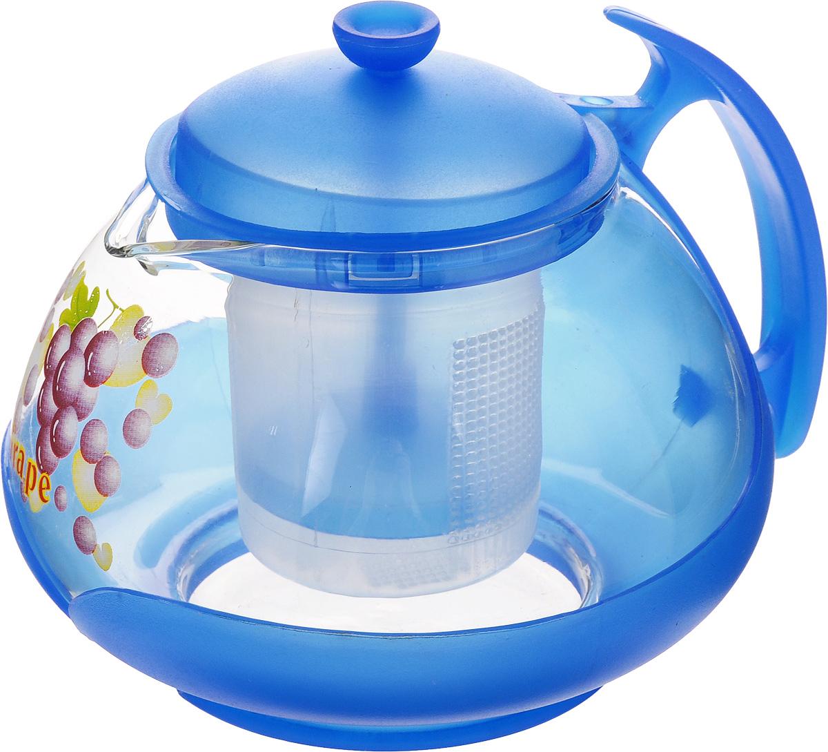 Чайник заварочный Mayer & Boch, с фильтром, цвет: прозрачный, синий, 700 мл. 20222022_прозрачный, синийЗаварочный чайник Mayer & Boch изготовлен из жаропрочного стекла и полипропилена. Изделие оснащено сетчатым фильтром из пищевого полипропилена (пластика), который задерживает чаинки и предотвращает их попадание в чашку, а прозрачные стенки дадут возможность наблюдать за насыщением напитка. Чай в таком чайнике дольше остается горячим, а полезные и ароматические вещества полностью сохраняются в напитке. Диаметр чайника (по верхнему краю): 8 см. Высота чайника (без учета крышки): 9,5 см. Высота фильтра: 6,5 см.