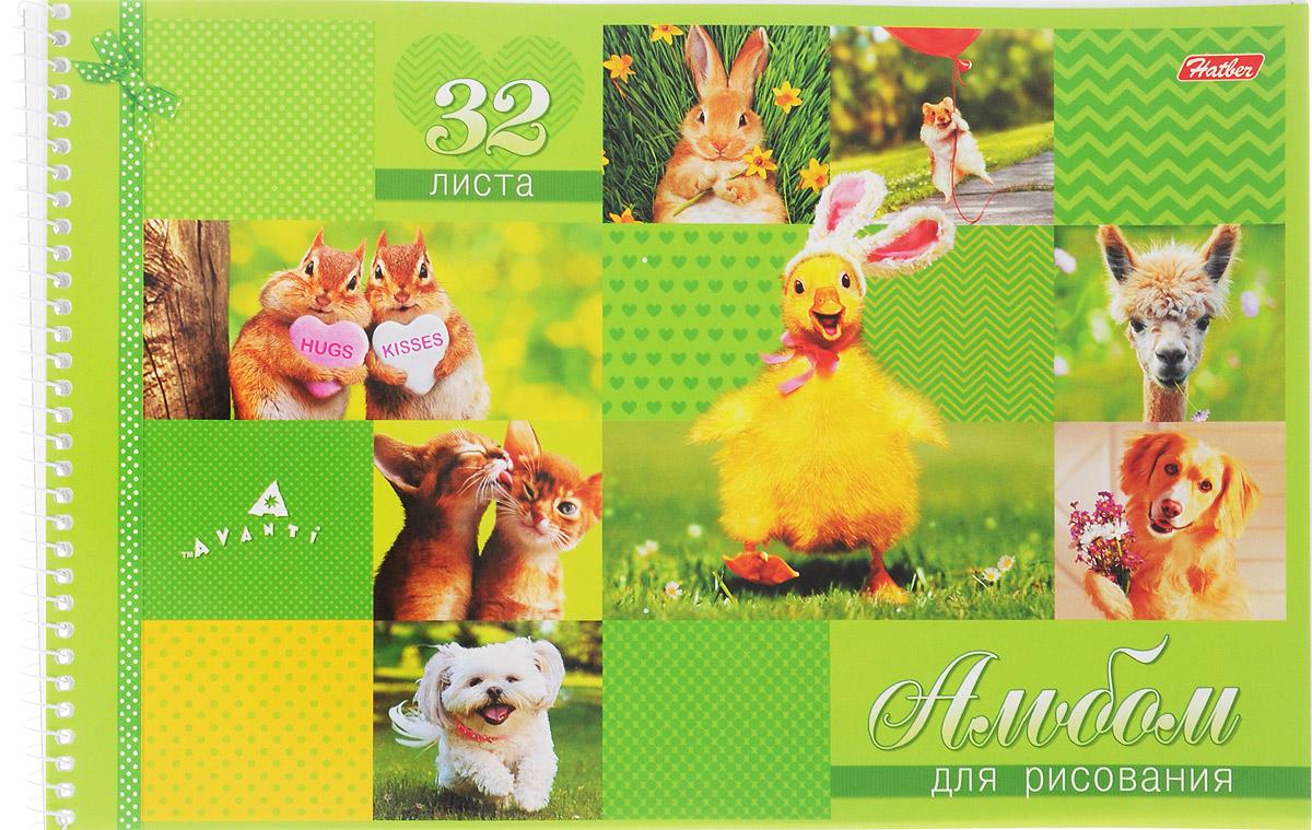Hatber Альбом для рисования Милашки 32 листа цвет салатовый32А4Всп_15065Альбом для рисования на боковой спирали Hatber Милашки непременно порадует маленького художника и вдохновит его на творчество. Альбом изготовлен из белоснежной бумаги с яркой обложкой из картона, оформленной изображением милых животных. Внутренний блок альбома состоит из 32 листов бумаги, которые снабжены микроперфорацией и являются отрывными. Высокое качество бумаги позволяет рисовать в альбоме карандашами, фломастерами, акварельными и гуашевыми красками. Во время рисования совершенствуются ассоциативное, аналитическое и творческое мышления. Занимаясь изобразительным творчеством, малыш тренирует мелкую моторику рук, становится более усидчивым и спокойным.