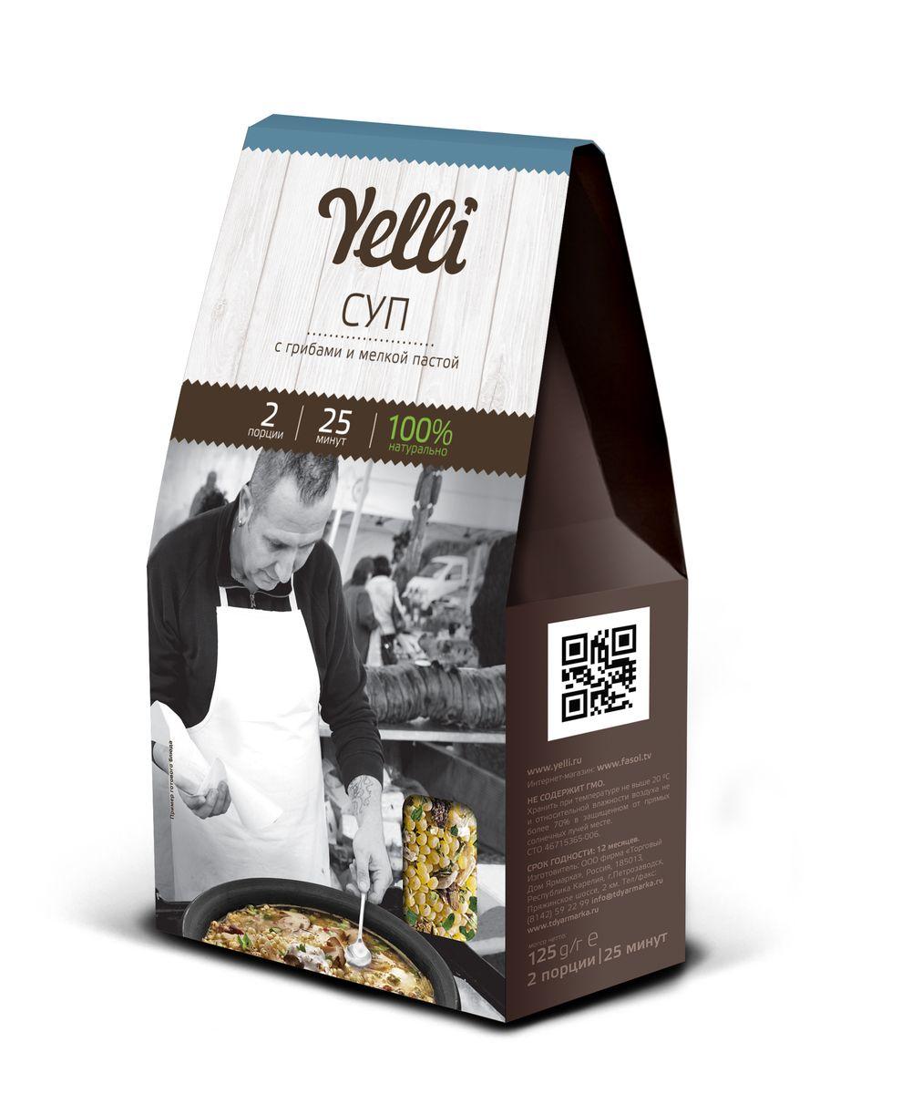 Yelli Суп с грибами и мелкой пастой, 125 гЕЛ 158/6Супы с грибами готовят в разных частях света – от Азии до Америки, везде по своему рецепту. Европейцы любят готовить супы из благородных белых грибов. Оригинальная мелкая паста из твердых сортов пшеницы великолепно сочетается с грибами и зеленью, придавая супу от Yelli изысканность. Для придания блюду сливочного вкуса добавьте в конце приготовления мягкий сливочный сыр. Готовится 25 минут.