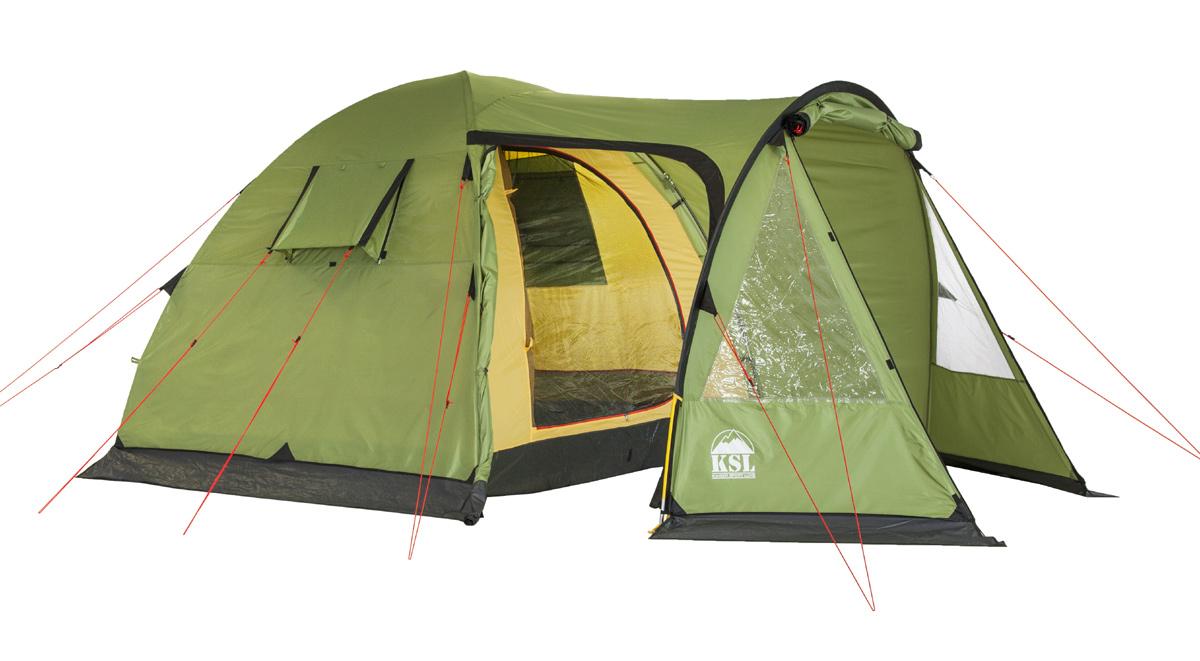 Палатка KSL Campo 4 Plus6153.4201Летняя кемпинговая палатка CAMPO 4 PLUS отлично подойдет для похода на природу вчетвером. Полусферическая палатка включает в себя внутреннюю комнату и просторный тамбур, в котором удобно хранить вещи, кухонную утварь и обувь. В палатке предусмотрено два входа, в комплекте для них имеется москитная сетка. Тент палатки выполнен из полиэстера водостойкостью 2500 мм водяного столба, дно - из полиэтилена водостойкостью 3000 мм водяного столба. Герметизированные швы не позволят попасть в палатку дождю и задерживают сквозняки, обеспечивая комфортный отдых в любую погоду. Материал тента устойчив к ультрафиолетовым лучам и пропитан огнеупорным веществом. Крепкий внутренний каркас состоит из стальных стоек, придающих палатке CAMPO 4 PLUS отличную устойчивость и сопротивляемость ветру. Дуги из стеклопластика делают палатку более легкой не в ущерб надежности. Палатка хорошо проветривается благодаря вентиляционным окнам. В этой палатке производитель продумал все до мелочей: хранить вещи можно...