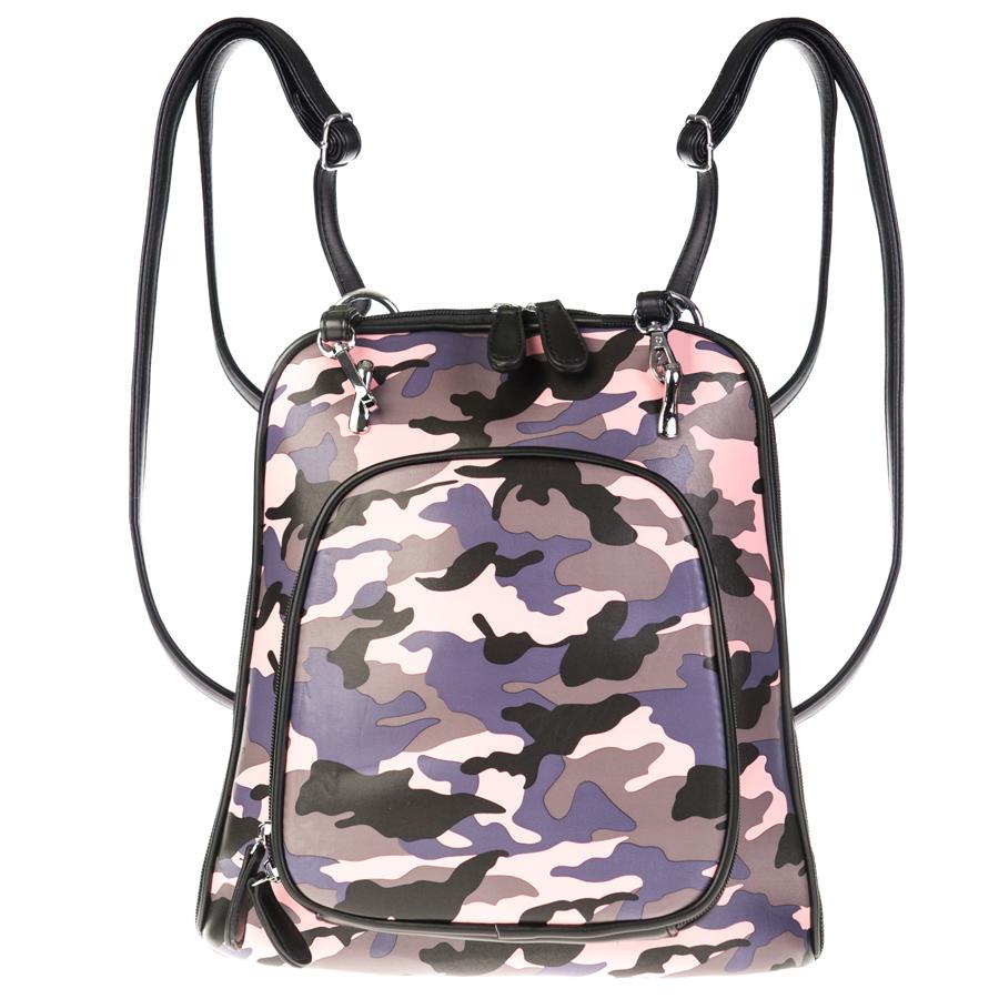 Рюкзак женский OrsOro, розово-серый D-134/20D-134/20Рюкзак-сумка трансформер с двумя отделениями, передним карманом на молнии, перегородка на молнии. Внутренний карман на молнии, карман для телефона, задний карман на молнии