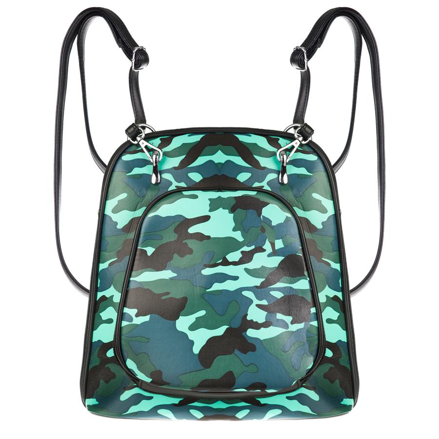 Рюкзак женский OrsOro, бирюзово-синий D-134/2D-134/2Рюкзак-сумка трансформер с двумя отделениями, передним карманом на молнии, перегородка на молнии. Внутренний карман на молнии, карман для телефона, задний карман на молнии