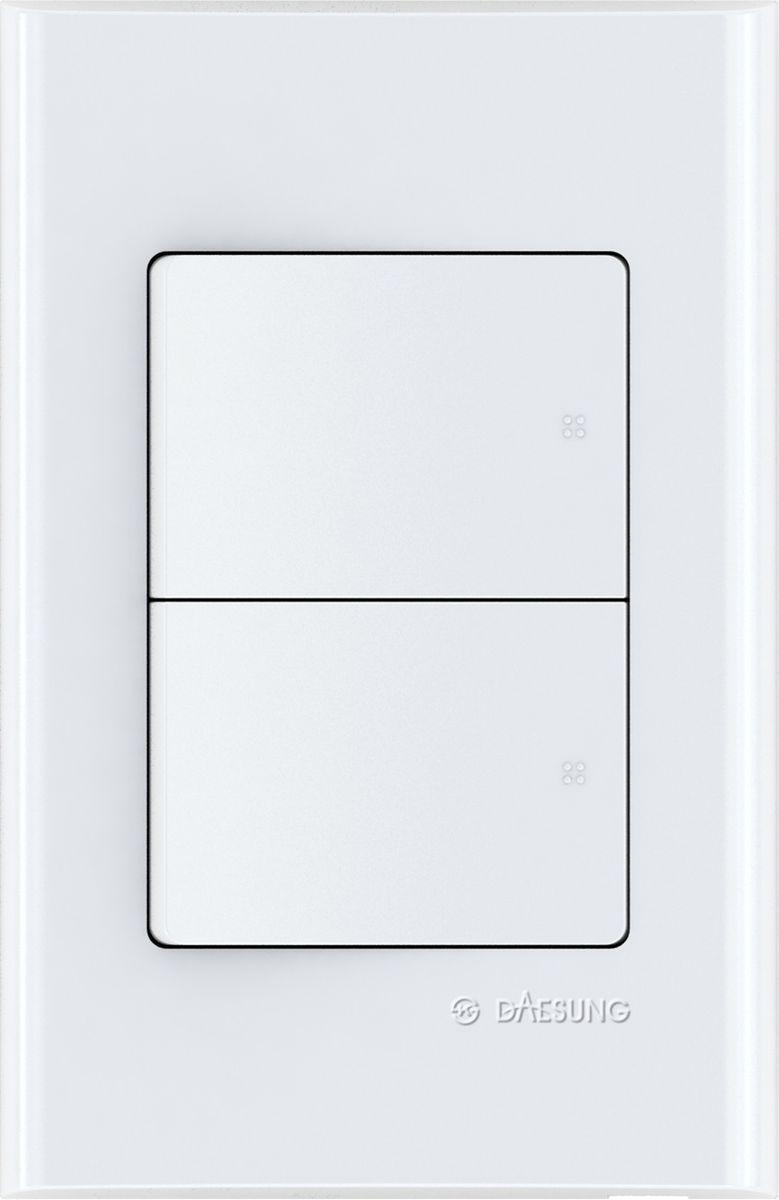Выключатель двухклавишный Daesung, 1 выход. EFS1021EFS1021Корпус из поликарбоната (более ударопрочный, огнестойкий и экологичный материал)