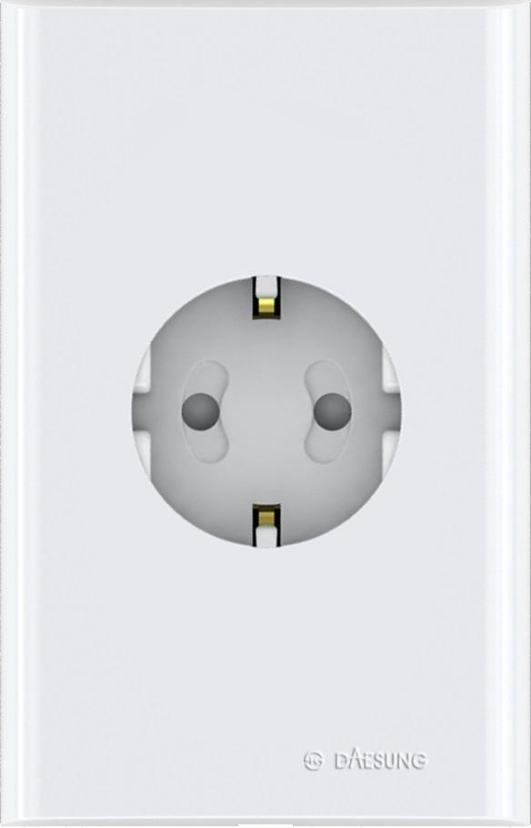 Розетка одиночная с/з Daesung. NFS1210NFS1210Корпус из поликарбоната (более ударопрочный, огнестойкий и экологичный материал) Защитные шторки Направляющие канавки розеток (повышеный уровень комфортности при включении)