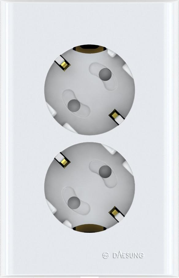 Розетка двойная Daesung, с заземлением. NFS1220NFS1220Корпус из поликарбоната (более ударопрочный, огнестойкий и экологичный материал) Защитные шторки Направляющие канавки розеток (повышенный уровень комфортности при включении) Двойная розетка Daesung с заземляющим контактом, скрытой установки.
