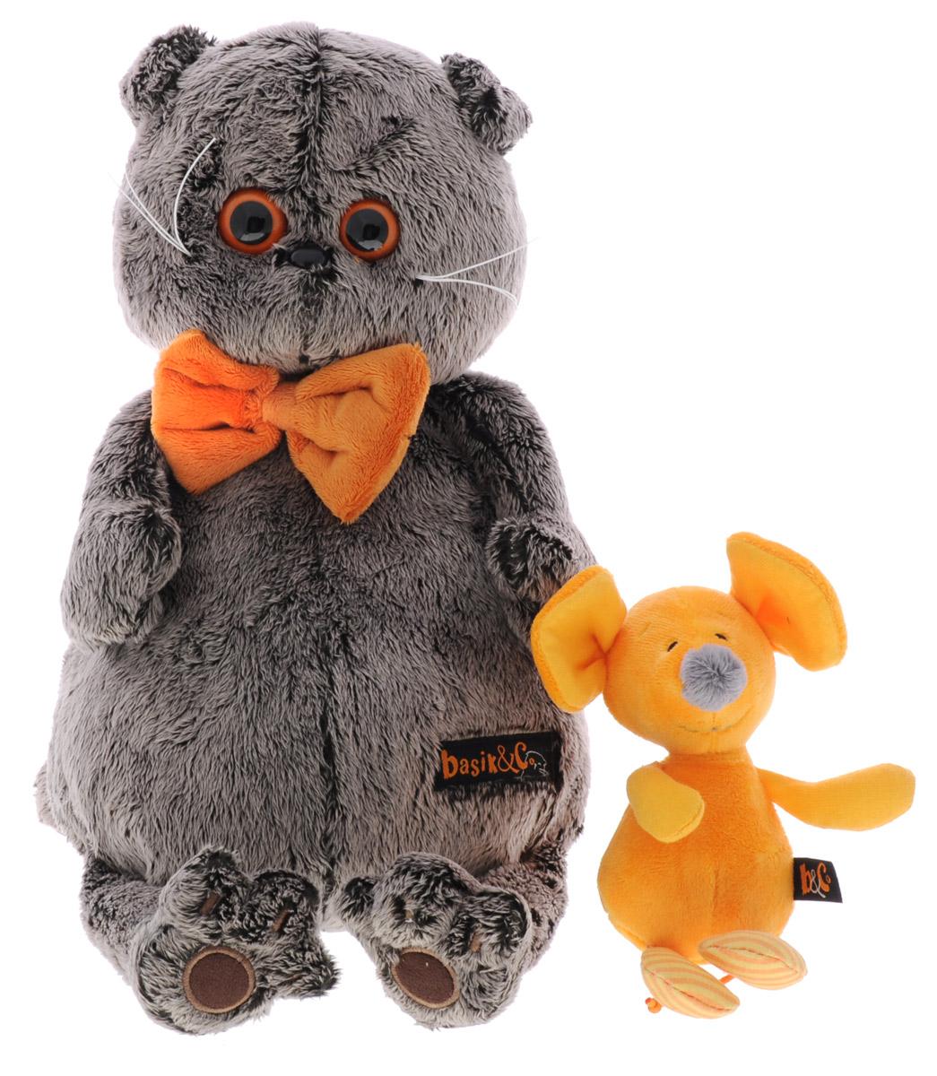 Мягкая игрушка Басик с мышкой Миленой 30 смKs30-052Мягкая игрушка Басик с мышкой Миленой подарит малышу немало прекрасных мгновений. Дети очень трепетно относятся к домашним животным, особенно они любят котов и собак и часто просят своих родителей приобрести им такого друга. Однако домашние питомцы не всегда хорошо влияют на детей - они могут поцарапать и даже вызвать аллергическую реакцию, поэтому приходят на помощь мягкие игрушки, очень похожие на настоящих питомцев. С этим шотландским вислоухим котиком можно играть, отдыхать и засыпать в обнимку, рассказывая свои секреты. У него плюшевая шерстка, которую так приятно гладить. У Басика круглые медовые глазки, маленькие ушки и черный носик. На Басике надета оранжевая бабочка на резинке. В комплекте с Басиком идет его подружка - оранжевая мышка Милена. Мягкие игрушки очень полезны для малышей, потому что весьма позитивно влияют на детскую нервную систему, прогоняя всевозможные страхи. Играя, малыш развивает фантазию и воображение, развивает...