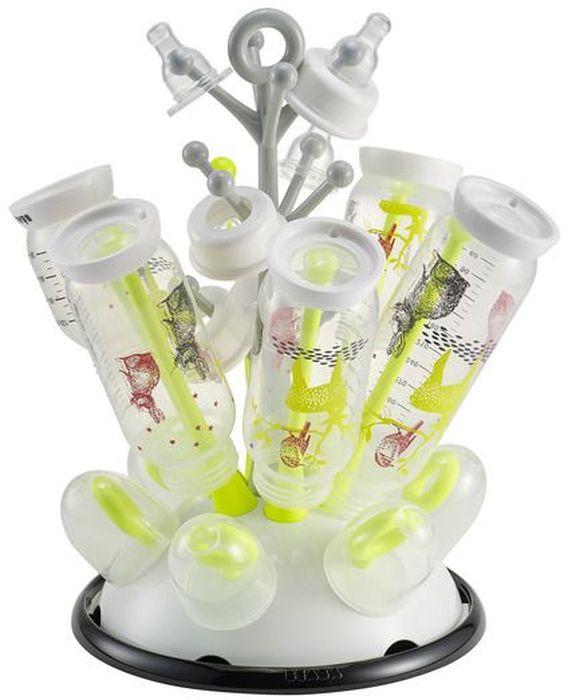 Beaba Держатель-сушилка для бутылочек цвет белый салатовый911556Держатель-сушилка для бутылочек Beaba позволит вам сушить и хранить, после стерилизации или мойки, бутылочки и аксессуары вашего малыша. После мытья наденьте бутылочки на стержни и, когда они высохнут, слейте собравшуюся воду в раковину. Держатель пригоден для мытья в посудомоечной машине.