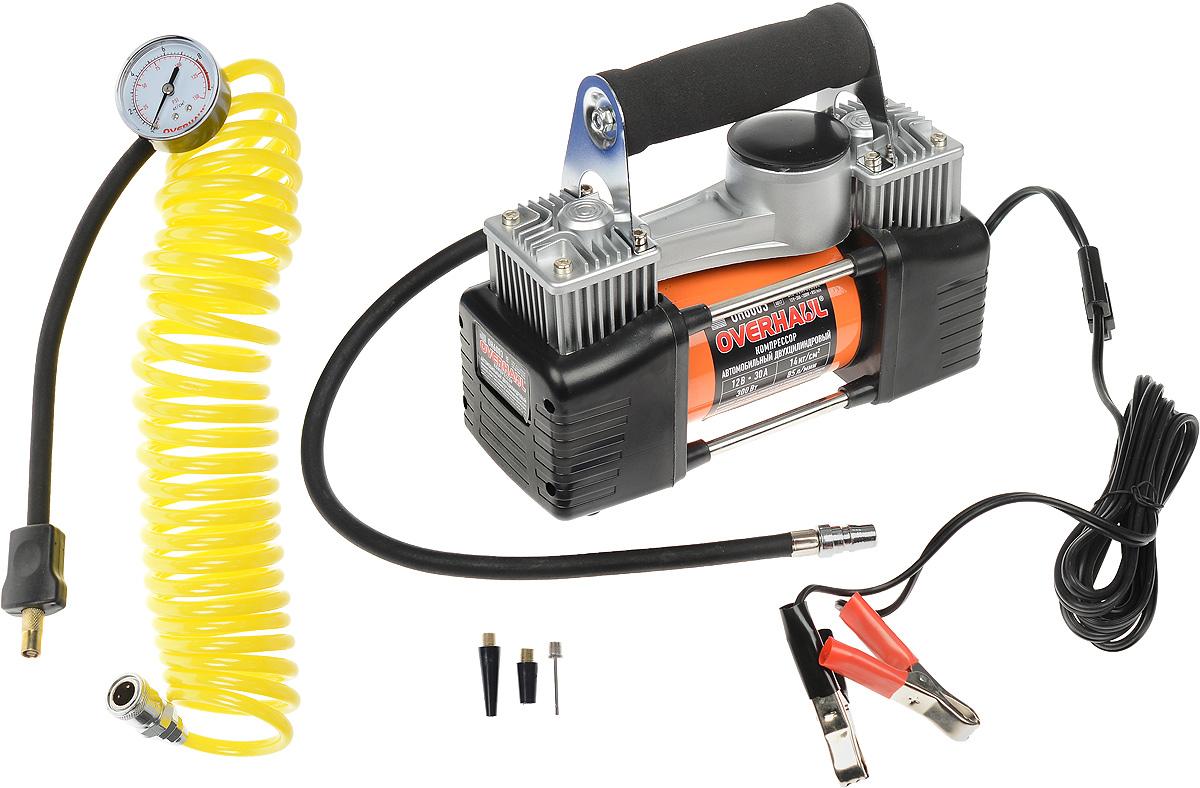 Компрессор автомобильный Overhaul, двухцилиндровый. OH 6003OH 6003Автомобильный компрессор Overhaul повышенной мощности позволит накачать колесо любого размера и надувной спортинвентарь за максимально короткое время. Цельнометаллический корпус обеспечивает эффективный отвод тепла, что значительно увеличивает продолжительность непрерывной работы. Компрессор оборудован маховиком с противовесом, обеспечивающим снижение вибрации и шума при работе, электромотором с усиленными подшипниками. В комплект входит: - Сумка для хранения компрессора с отделением для аксессуаров. - Кабель питания с зажимами для батареи (3 м). - Комплект универсальных адаптеров. - Витой воздушный шланг с манометром. Производительность: 85 л/мин.